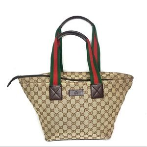 Authentic Gucci brown tote with ribbon handles